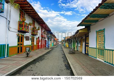 SALENTO COLOMBIA - JUNE 6: View of the main straight in downtown Salento Colombia on June 6 2016