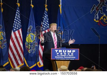 Manheim PA - October 1 2016: Donald J. Trump speaking at his campaign political rally Lancaster County.