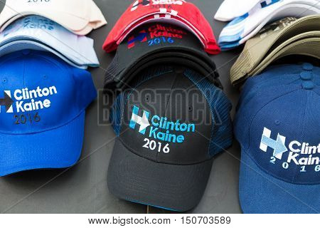 Harrisburg PA USA - October 4 2016: Clinton Kaine 2016 caps and hats for sale at Hillary Clinton campaign event.