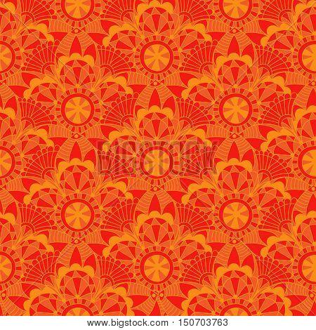 Vintage orange seamless pattern with circles vector