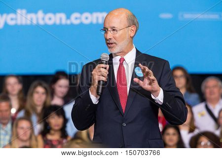 Harrisburg PA USA - October 4 2016: Pennsylvania Governor Tom Wolf speaks at a campaign rally for Presidential candidate Hillary Clinton.