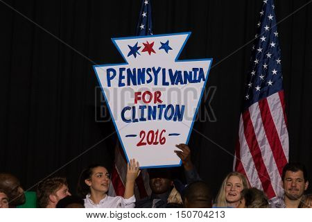 Harrisburg PA USA - October 4 2016: Pennsylvania for Clinton 2016 sign at the rally for Presidential candidate Hillary Clinton.