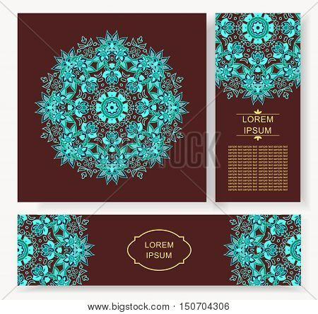 set card, flyer, banner with abstract ornament round mandala