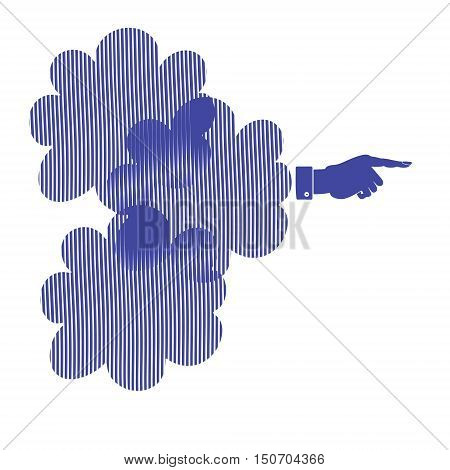 The silhouette of a hand with a pointing finger. Direction Sign vector