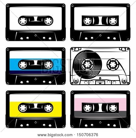 set of vintage black plastic and transparent cassettes