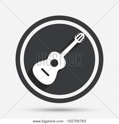 Acoustic guitar sign icon. Music symbol. Circle flat button with shadow and border. Vector