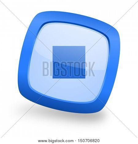 stop blue glossy web design icon