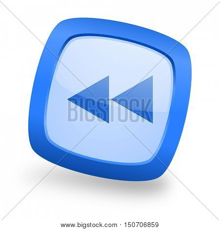 rewind blue glossy web design icon