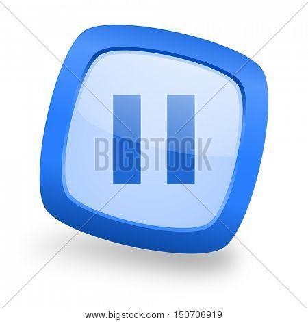 pause blue glossy web design icon