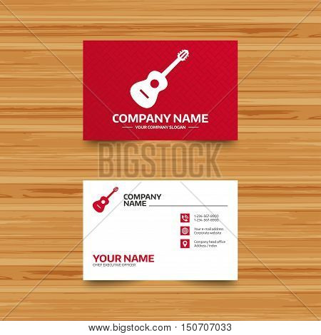 Business card template. Acoustic guitar sign icon. Music symbol. Phone, globe and pointer icons. Visiting card design. Vector