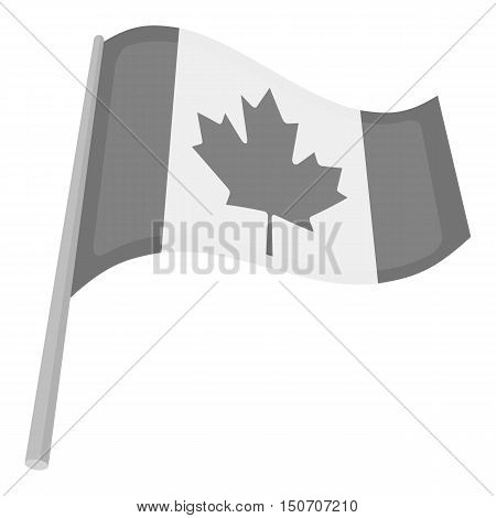 Canadian flag icon in monochrome style isolated on white background. Canadian Thanksgiving Day symbol vector illustration.