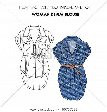 Flat fashion technical sketch - woman denim blouse