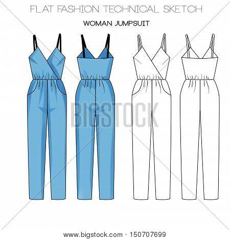 Flat fashion template sketch - woman jumpsuit