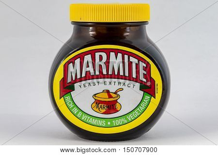 CHESTER UNITED KINGDOM - October 2nd 2016: Jar of Marmite on a plain background. Marmite is a food paste made from yeast extract.