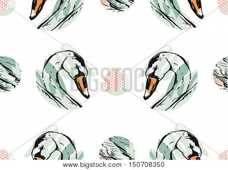 Hand drawn vector abstract artistic texture unusual dotted seamless pattern with romantic swans in pastel colors isolated on white background.Minimalistic unusual Design