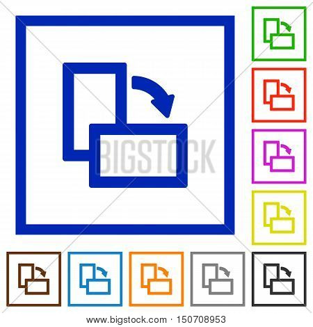 Set of color square framed rotate right flat icons