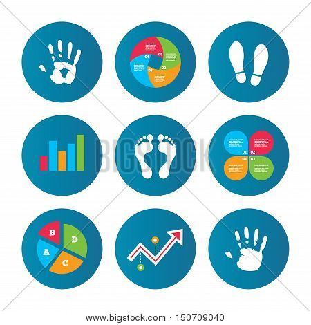 Business pie chart. Growth curve. Presentation buttons. Hand and foot print icons. Imprint shoes and barefoot symbols. Stop do not enter sign. Data analysis. Vector