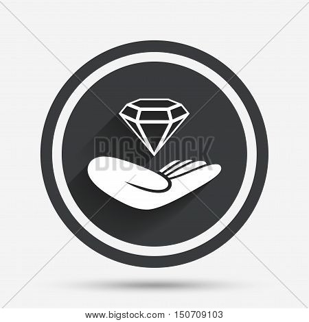 Jewelry insurance sign. Hand holds diamond symbol. Brilliant insurance. Circle flat button with shadow and border. Vector