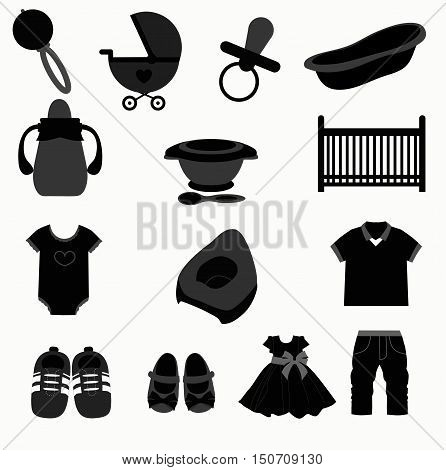 baby icons set. Collection of baby items. Template vector illustration. baby shower and arrival