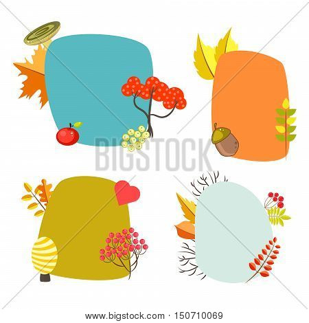 Autumn card templates with foliage decorative elements. Note paper cards.