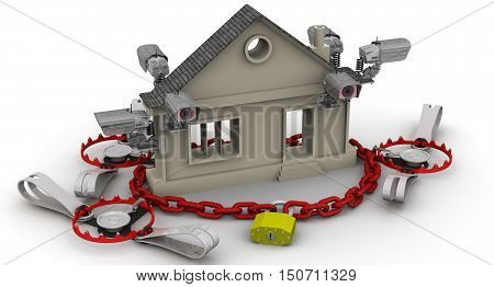 Private property under protected. CCTV padlock on the chain trap and a symbol of the real estate on a white surface. The concept of real estate protection. Isolated. 3D Illustration