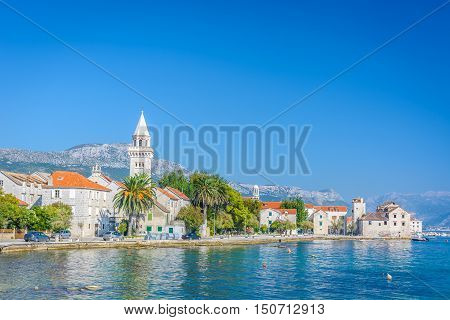 View at small mediterranean town in Kastela, place in suburb of town Split, touristic destination in Croatia, Europe.