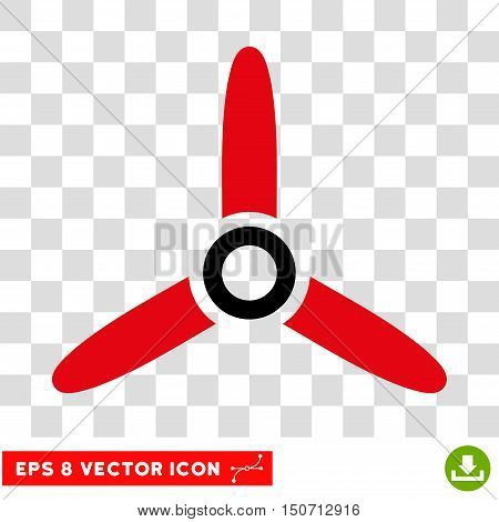 Vector Three Bladed Screw EPS vector icon. Illustration style is flat iconic bicolor intensive red and black symbol on a transparent background.