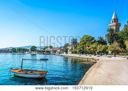 View at small picturesque mediterranean town in Kastela, place in suburb of town Split, touristic destination in Croatia, Europe.