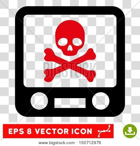Vector Xray Screening EPS vector pictogram. Illustration style is flat iconic bicolor intensive red and black symbol on a transparent background.