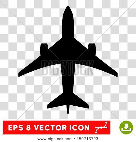 Vector Jet Plane EPS vector icon. Illustration style is flat iconic black symbol on a transparent background.