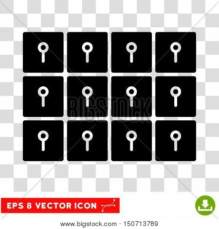 Vector Lockers EPS vector pictograph. Illustration style is flat iconic black symbol on a transparent background.
