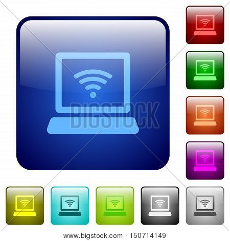 Set of computer with wireless color glass rounded square buttons