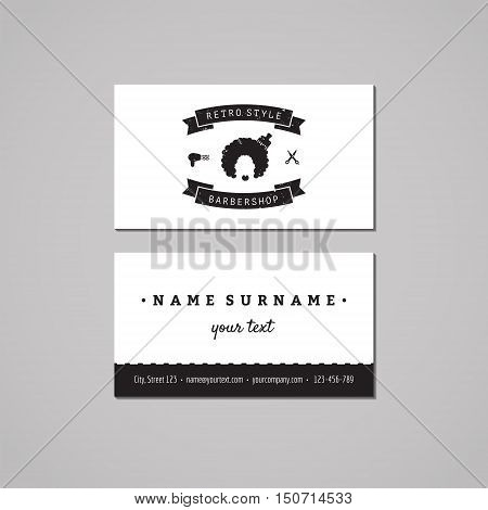 Barbershop (hair salon) business card design concept. Logo with afro hairstyle woman. Vintage hipster and retro style. Black and white.