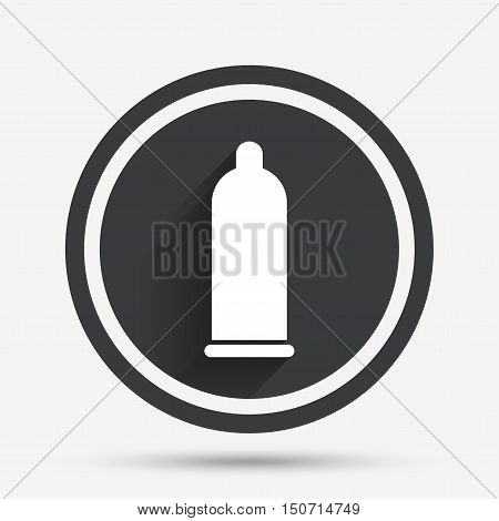 Condom safe sex sign icon. Safe love symbol. Circle flat button with shadow and border. Vector