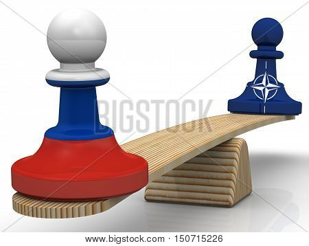 The balance between the Russian Federation and NATO. Chess pieces - pawns in the colors of the flags of the Russian Federation and North Atlantic Treaty Organization weighed on the scales. Isolated. 3D Illustration