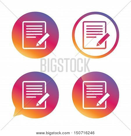 Edit document sign icon. Edit content button. Gradient buttons with flat icon. Speech bubble sign. Vector