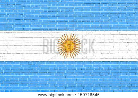 Argentinian national official flag. Argentine Republic patriotic symbol banner element background. Flag of Argentina on brick wall texture background, 3d illustration