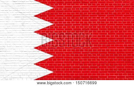 Bahraini national official flag. Patriotic symbol banner element background. Flag of Bahrain on brick wall texture background, 3d illustration