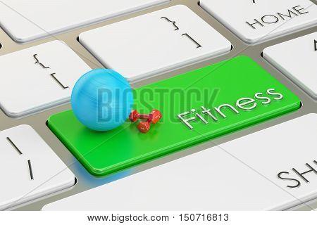 fitness button key on keyboard. 3D rendering