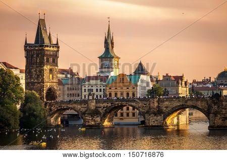 The Charles Bridge at Sunset, Prague, Czech Republic