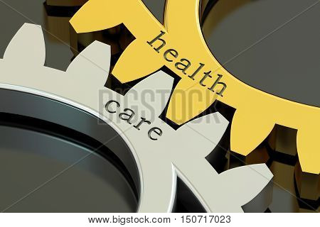 Health Care concept on the gearwheels 3D rendering