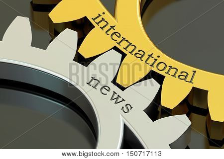 international news concept on the gearwheels 3D rendering