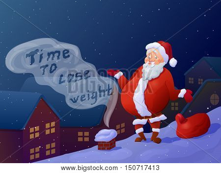 Funny overweight santa can't get into chimney. Cartoon santa claus on roof. Christmas poster
