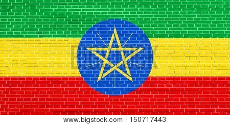 Ethiopian national official flag. African patriotic symbol banner element background. Flag of Ethiopia on brick wall texture background, 3d illustration