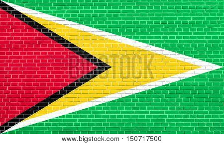 Guyanan national official flag. Patriotic symbol banner element background. Flag of Guyana on brick wall texture background, 3d illustration