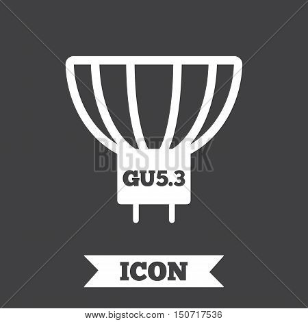 Light bulb icon. Lamp GU5.3 socket symbol. Led or halogen light sign. Graphic design element. Flat gU5.3 lamp symbol on dark background. Vector