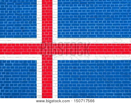 Icelandic national official flag. Patriotic symbol banner element background. Flag of Iceland on brick wall texture background, 3d illustration