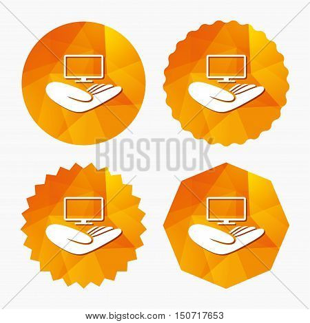 TV insurance sign icon. Hand holds wide-screen TV symbol. Triangular low poly buttons with flat icon. Vector