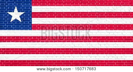 Liberian national official flag. African patriotic symbol banner element background. Flag of Liberia on brick wall texture background, 3d illustration