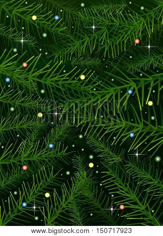 Vector Christmas tree pine branches background